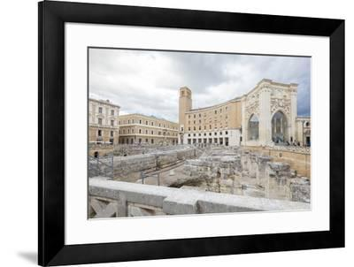 Ancient Roman ruins and historical buildings in the old town, Lecce, Apulia, Italy, Europe-Roberto Moiola-Framed Photographic Print