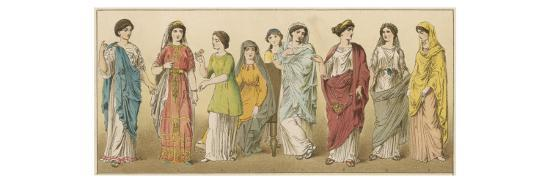 Ancient Roman Women in Various Coloured Costumes--Giclee Print