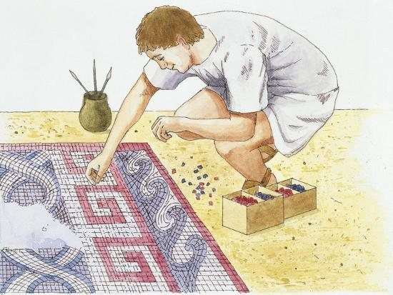 Ancient Rome, Man Making Tile Floor--Giclee Print