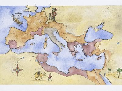 Ancient Rome, Map of Roman Empire, Illustration--Photographic Print