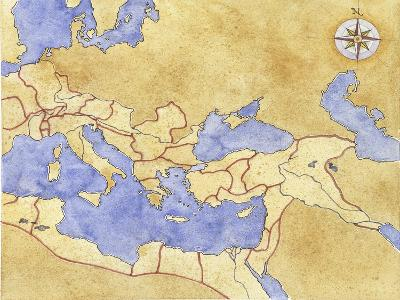 Ancient Rome, Map of Roman Empire--Giclee Print