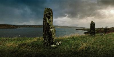 Ancient Standing Stones Along Loch Snizort Beag-Macduff Everton-Photographic Print