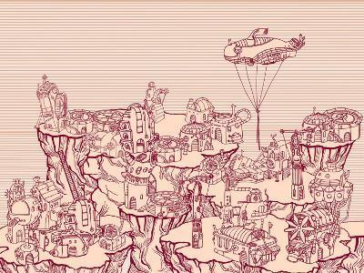 Ancient Steampunk City on the Hills.-RYGER-Art Print
