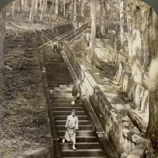 Ancient Stone Stairway Up the Hill to the Tomb of Shogun Ieyasu, Nikko, Japan, 1904-Underwood & Underwood-Photographic Print