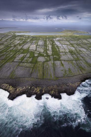 Ancient Stone Walls Pattern Inisheer Enveloped in the Atlantic-Jim Richardson-Photographic Print