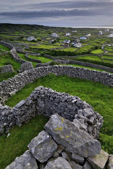 Ancient Stone Walls Pattern the Landscape on the Island of Inisheer-Jim Ricardson-Photographic Print