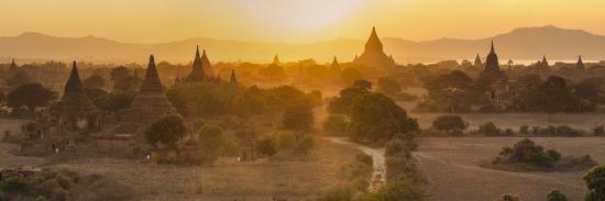 Ancient Temple City of Bagan (Also Pagan) and Ox Cart, Myanmar (Burma)-Peter Adams-Photographic Print