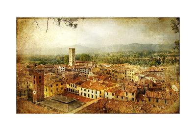 Ancient Town Lucca- Tuscany - Retro Styled Picture-Maugli-l-Art Print