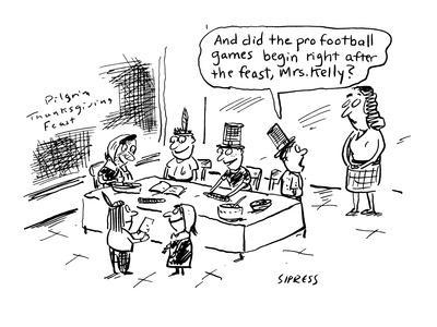 And did the pro football games begin right after the feast, Mrs. Kelly?' - Cartoon-David Sipress-Premium Giclee Print