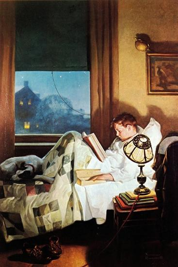 And Every Lad May Be Aladdin (or Reading in Bed)-Norman Rockwell-Giclee Print