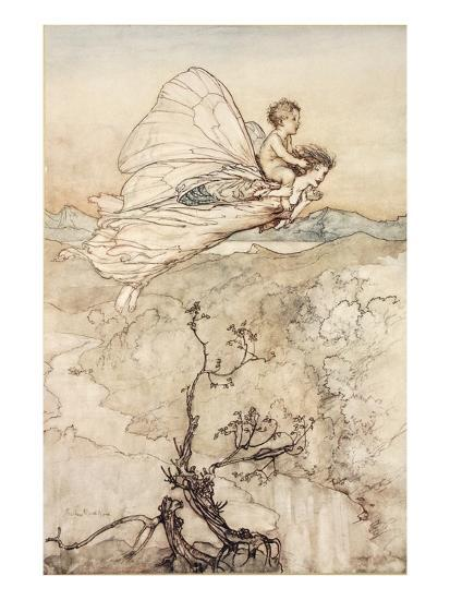 ..And Her Fairy Sent to Bear Him to My Bower in Fairy Land-Arthur Rackham-Premium Giclee Print