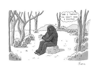 """And I thought she didn't know I existed!"" - New Yorker Cartoon-Zachary Kanin-Premium Giclee Print"