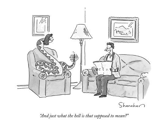 """And just what the hell is that supposed to mean?"" - New Yorker Cartoon-Danny Shanahan-Premium Giclee Print"