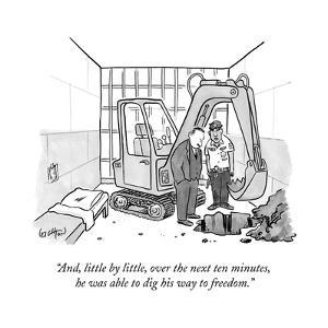 """""""And, little by little, over the next ten minutes, he was able to dig his ..."""" - New Yorker Cartoon"""