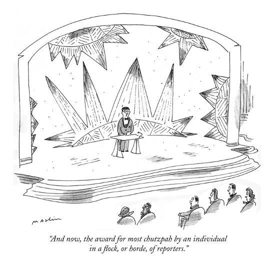 """And now, the award for most chutzpah by an individual in a flock, or hord…"" - New Yorker Cartoon-Michael Maslin-Premium Giclee Print"