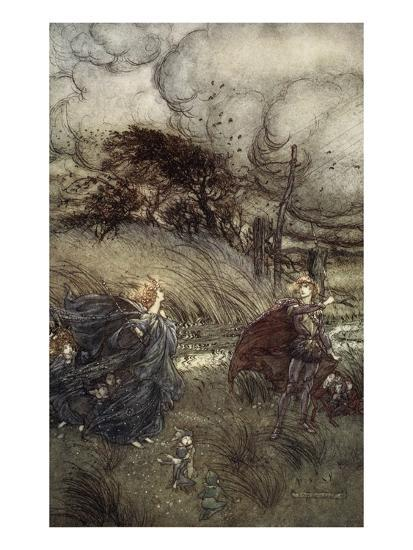 And Now They Never Meet in Grove or Green, by Fountain Clear or Spangled Starlight Sheen-Arthur Rackham-Premium Giclee Print