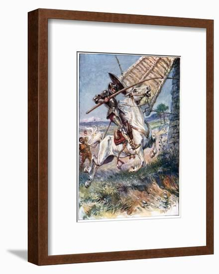And Running His Lance into the Sail, Illustration from 'The Adventures of Don Quixote', Published…-Paul Hardy-Framed Giclee Print