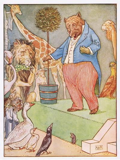 And the Bear Sang a Sentimental Air, Illustration from 'Johnny Crow's Party', c.1930-Leonard Leslie Brooke-Giclee Print