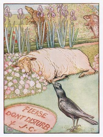 And the Sheep Went to Sleep, Illustration from 'Johnny Crow's Party', c.1930-Leonard Leslie Brooke-Giclee Print