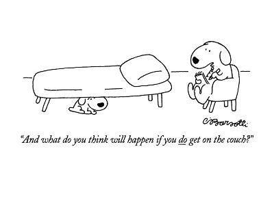 """And what do you think will happen if you do get on the couch?"" - New Yorker Cartoon-Charles Barsotti-Premium Giclee Print"