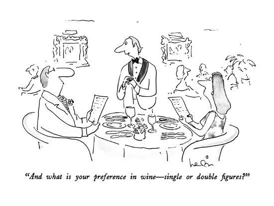 """And what is your preference in wine—single or double figures?"" - New Yorker Cartoon-Arnie Levin-Premium Giclee Print"