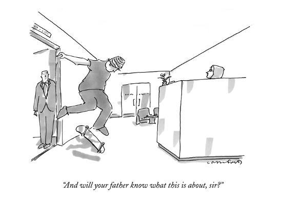 """""""And will your father know what this is about, sir?"""" - New Yorker Cartoon-Michael Crawford-Premium Giclee Print"""