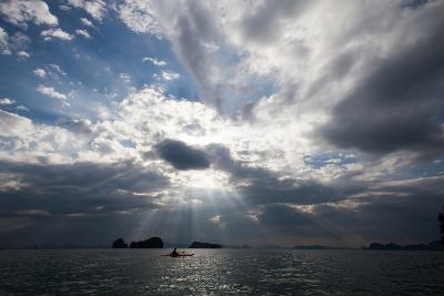 Andaman Sea: A Kayaker in the Andaman Sea under Rays of Light-Ben Horton-Photographic Print