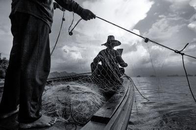 Andaman Sea: Fishermen Haul in their Net in the Andaman Sea-Ben Horton-Photographic Print