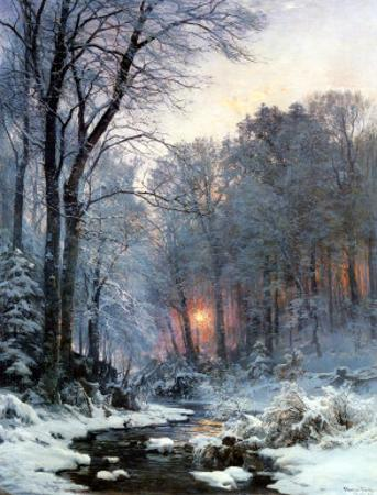Twilit Wooded River in the Snow by Anders Andersen-Lundby
