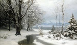 A Wooded Winter Landscape with a Stream and a Lake Beyond by Anders Anderson-lundby