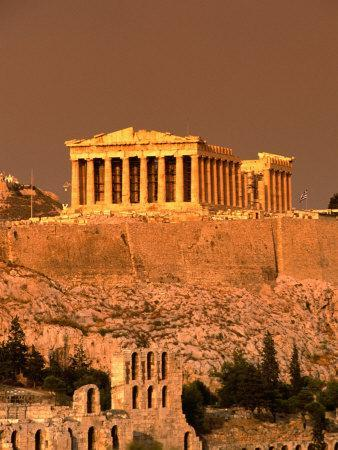 Acropolis and Parthenon from Filopappou Hill, Athens, Greece