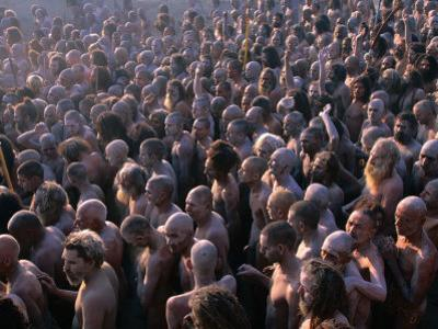 Crowds of Naga Sadhus During Maha Kumbh Mela Festival, Allahabad, India