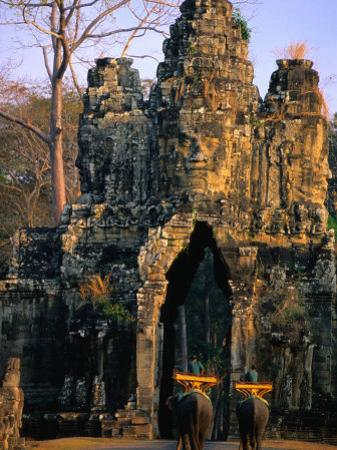 Elephants Outside the South Gate at Angkor Thom, Angkor, Cambodia