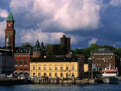 Harbour and City Buildings, Helsingborg, Skane, Sweden