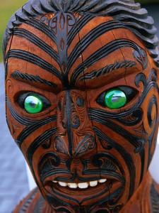 Muruika, a Modern Maori Carving with Glowing Green Eyes, Rotorua, New Zealand by Anders Blomqvist