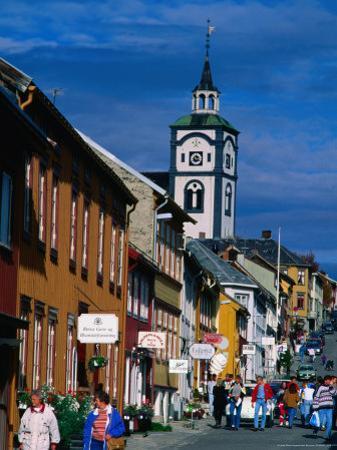 Pedestrians on Main Street of Old Town, Roros, Sor-Trondelag, Norway