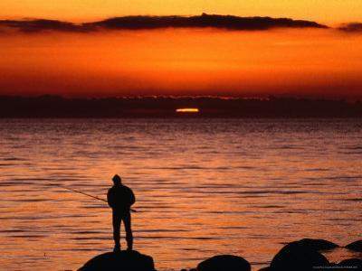 Rock Fishing at Sunset in Torekov, Torekov, Skane, Sweden