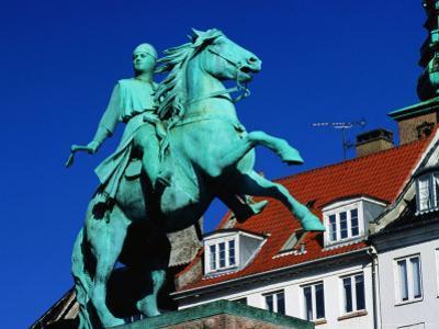 Statue of Bishop Absalon on Horseback on Hojbro Plads Square, Denmark