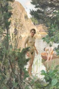 Nudes Swimming in a Lake by Anders Leonard Zorn