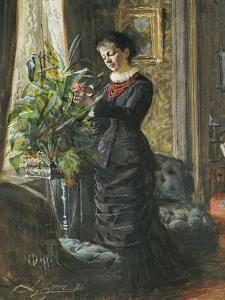 Portrait of Fru Lisen Samson, Nee Hirsch, Arranging Flowers at a Window, 1881 by Anders Leonard Zorn