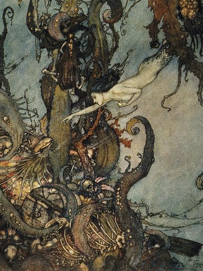 Andersen: Little Mermaid-Edmund Dulac-Premium Giclee Print