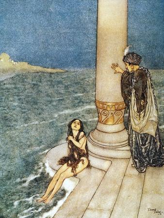 Edmund Dulac The Little Mermaid Illustration Art Print Pendant Necklace
