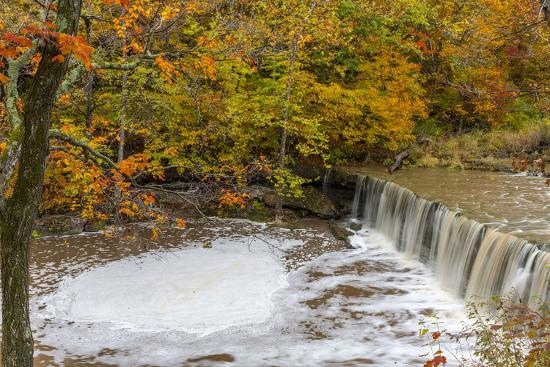 Anderson Falls on Fall Fork of Clifty Creek in Autumn, Indiana-Chuck Haney-Photographic Print