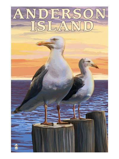 Anderson Island, WA Sea Gulls-Lantern Press-Art Print