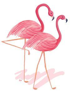 Flamingo Walk Watercolor I by Andi Metz
