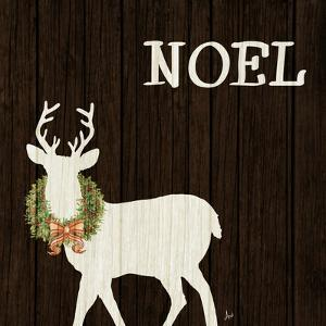 Wooden Deer with Wreath I by Andi Metz