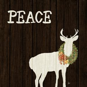 Wooden Deer with Wreath II by Andi Metz