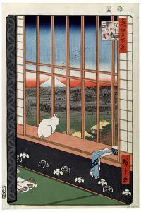 A Cat Sitting on the Window Seat, 19th Century by Ando Hiroshige