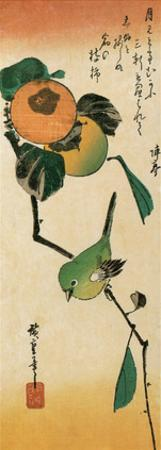 A Japanese White-Eye on a Persimmon Branch by Ando Hiroshige