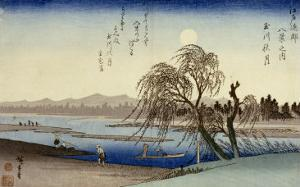Autumn Moon Over Tama River by Ando Hiroshige